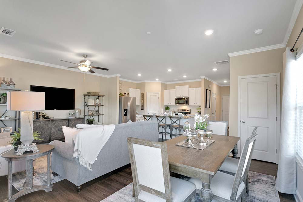 dining area and living room in canton, ga luxury apartments